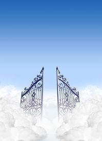 stock photo of entryway  - A depiction of the gates to heaven in the clouds open under a clear blue sky background - JPG