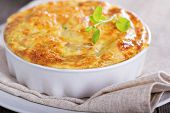 stock photo of zucchini  - Zucchini and onion bake with eggs and cheese - JPG