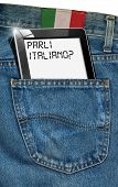 stock photo of pronunciation  - Jeans with black tablet computer with phrase  - JPG