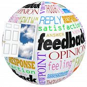 image of soliciting  - Feedback globe world door opening inside customer opinions - JPG