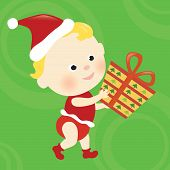 Image of christmas baby holding present.