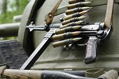 stock photo of tommy-gun  - Submachine gun  tommy historical military still life - JPG
