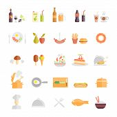 stock photo of stew  - Large set of food and beverage icons with wine  beer  fruit juice  soda  coffee  sausage  fruit  takeaways  mushroom  lolly  salad  cake  roast  stew  egg  hotdog  chef  dome  fish  rice and cutlery - JPG