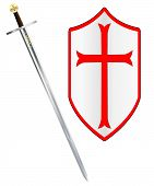 foto of crusader  - A sword of the type ised by a crusader around 1100 AD isolated on a white background - JPG