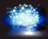 stock photo of smart grid  - Creative brain concept background with triangular grid - JPG