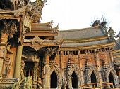 stock photo of cult  - Wooden temple cult beautiful architectural structure east - JPG