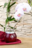 picture of calabash  - Tea mate in the calabash and orchid on stone wall background - JPG