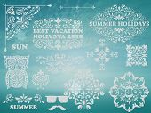 image of std  - Vector Summer Design elements on Background with blue sky and sea Vintage frames for your text example with Chaparral Pro Bold and Cooper Std fonts blobs with transparency effects - JPG