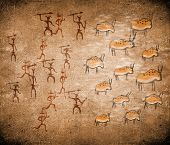 picture of prehistoric animal  - prehistoric hunting scene digital illustration with animals - JPG