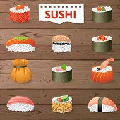 stock photo of sushi  - Great set of sushi variations over wooden background - JPG