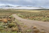picture of sagebrush  - dirt road in a mountain valley with hills covered by sagebrush in early spring morning - JPG