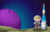 picture of outerspace  - Illustration of a smiling astronaut beside the rocket in the outerspace - JPG