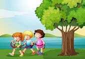 foto of playmates  - Illustration of the three kids playing with the rope near the river - JPG