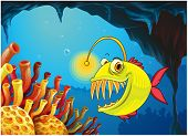 stock photo of piranha  - Illustration of a cave with a piranha - JPG