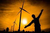 stock photo of wind vanes  - The wind turbine generator the renewable energy - JPG