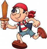stock photo of pirate sword  - Pirate kid running - JPG