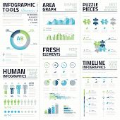 stock photo of jigsaw  - Big set of awesome infographic vector elements for business - JPG