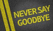 image of say goodbye  - Never Say Goodbye written on the road - JPG
