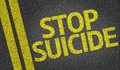 foto of suicide  - Stop Suicide written on the road - JPG