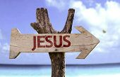 picture of evangelism  - Jesus wooden sign with a beach on background  - JPG