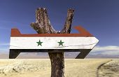 picture of euphrat  - Syria wooden sign with a desert background - JPG