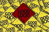 stock photo of fourleaf  - Good Lucky written on multiple road sign  - JPG