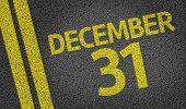 stock photo of reveillon  - December 31 written on the road  - JPG