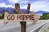 picture of hippy  - Go Hippie wooden sign with a landscape background - JPG