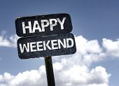 stock photo of thursday  - Happy Weekend sign with clouds and sky background - JPG
