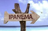 image of ipanema  - Ipanema wooden sign with a beach on background - JPG