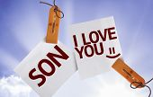 pic of i love you mom  - Son I Love You on Paper Note on sky background - JPG