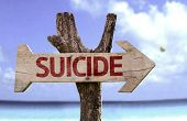 picture of suicide  - Suicide wooden sign with a beach on background - JPG