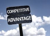 stock photo of competition  - Competitive Advantage sign with clouds and sky background - JPG