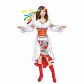 stock photo of national costume  - girl welcome hand gesture in ukrainian national traditional costume clothes happy smile - JPG