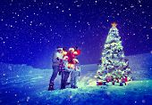 picture of christmas song  - Christmas Tree Family Carol Snow Concept - JPG