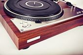 foto of analogy  - Stereo Turntable Vinyl Record Player Analog Retro Vintage Angle View - JPG