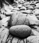picture of tilt  - Tilt shift effect image with shallow depth of field textured rocks on beach black and white - JPG