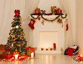 picture of xmas star  - Christmas Room Interior Design Xmas Tree Decorated By Lights Presents Gifts Toys Fireplace and Candles Lighting Indoors - JPG