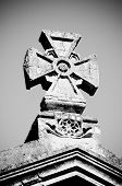 picture of maltese-cross  - black and white maltese stone cross with rich decoration - JPG