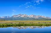 Постер, плакат: Sawtooth Range Reflection Meadow Creek Stanley ID