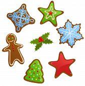 image of christmas cookie  - Vector set of cute Christmas gingerbread cookies - JPG