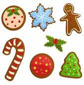 image of gingerbread man  - Vector set of cute Christmas gingerbread cookies - JPG