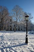 picture of winter palace  - Verkiu palace and park in Vilnius in winter - JPG