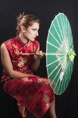 foto of geisha  - portrait of a girl in geisha style - JPG