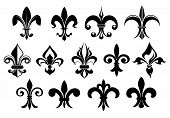 picture of french culture  - Fleur de lys vintage design elements or icons in black and white suitable for heraldry and classic decor designs in various shapes - JPG