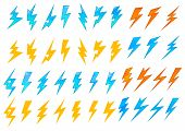 stock photo of bolt  - Colorful lightning bolts or electrical icons showing various zigzag patterns in red - JPG