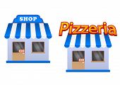 pic of awning  - Cartoon store and pizzeria icons with blue and white stripes awnings - JPG