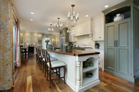 picture of light fixture  - Kitchen in luxury home with large island - JPG