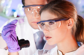 picture of histology  - Attractive young scientist and her post doctoral supervisor looking at the microscope slide in the forensic laboratory. ** Note: Soft Focus at 100%, best at smaller sizes - JPG