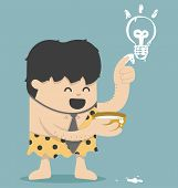 pic of caveman  - Illustration Cartoons concepts Caveman Business Have Idea vector eps10 - JPG